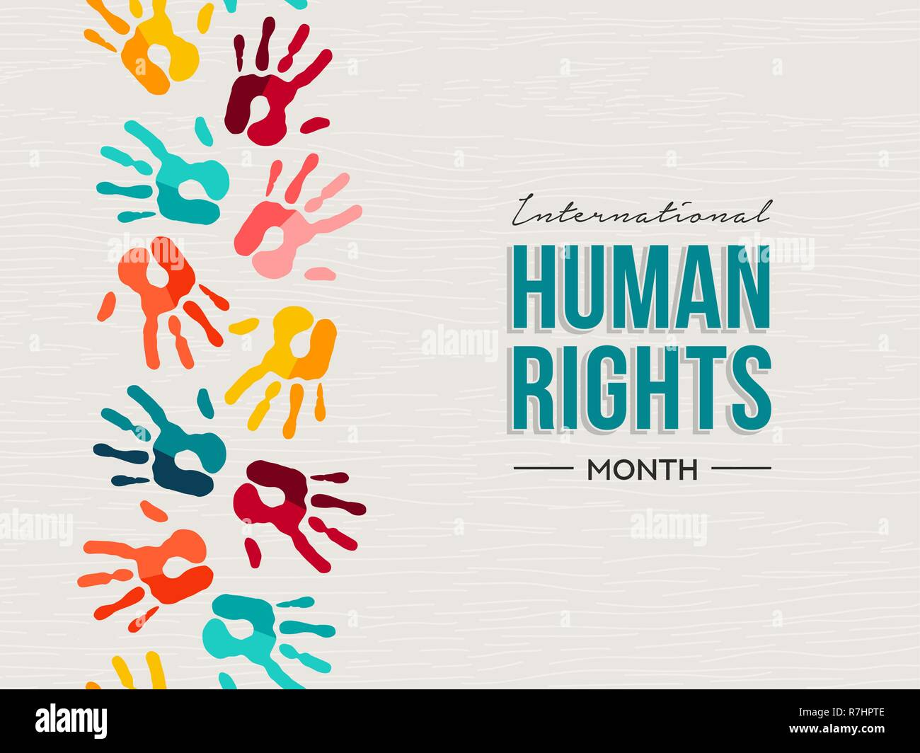 f5fa659f79d2 International Human Rights day illustration for global equality and peace  with colorful people hand prints