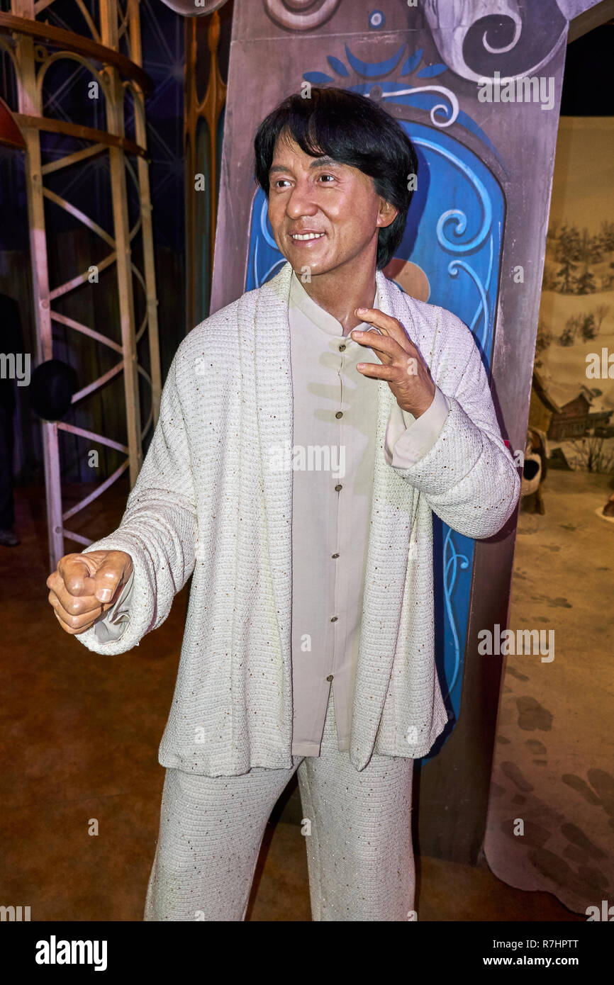 MONTREAL, CANADA - SEPTEMBER 23, 2018: Jackie Chan, Hong Kong producer, actor, film director, stuntman, and singer. Wax museum Grevin in Montreal, Que - Stock Image