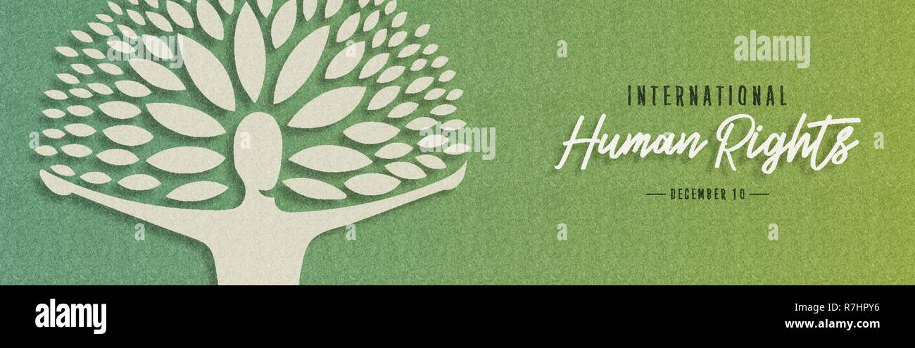 International Human Rights awareness day illustration for global equality and peace with people in tree shape, social freedom concept. - Stock Image