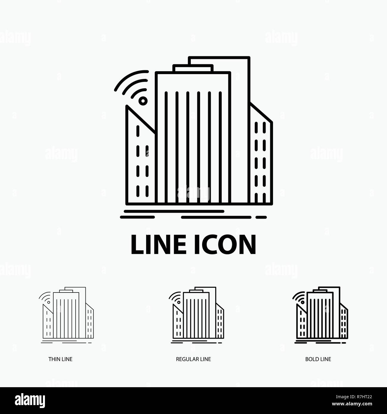 Buildings, city, sensor, smart, urban Icon in Thin, Regular and Bold Line Style. Vector illustration - Stock Vector