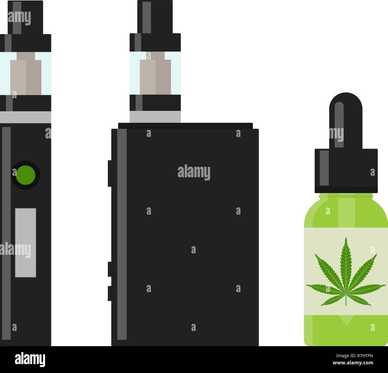 Marijuana Cannabis liquid for Vaping. Vape Cannabis Oil. Cannabis vaporizer. E-cigarette for vaping. Isolated vector illustration on white background. - Stock Image