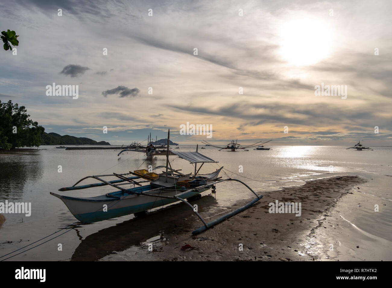 Boat On The Beach In Coron Palawan Philippines Stock