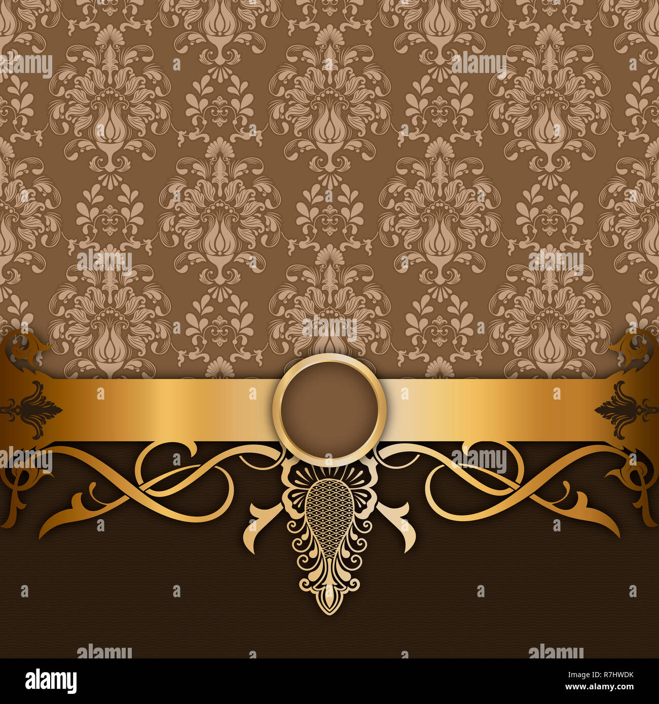 Vintage Background With Decorative Border And Floral Old Fashioned Patterns Vintage Invitation Card Design Stock Photo Alamy