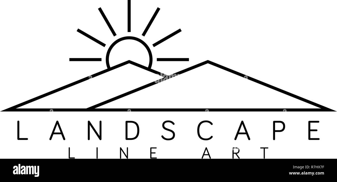 Landscape line art logo design template vector - Stock Vector