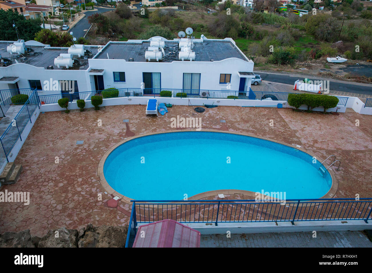 City Paphos, Cyprus. Swimming pool. Nature and buildings on ...