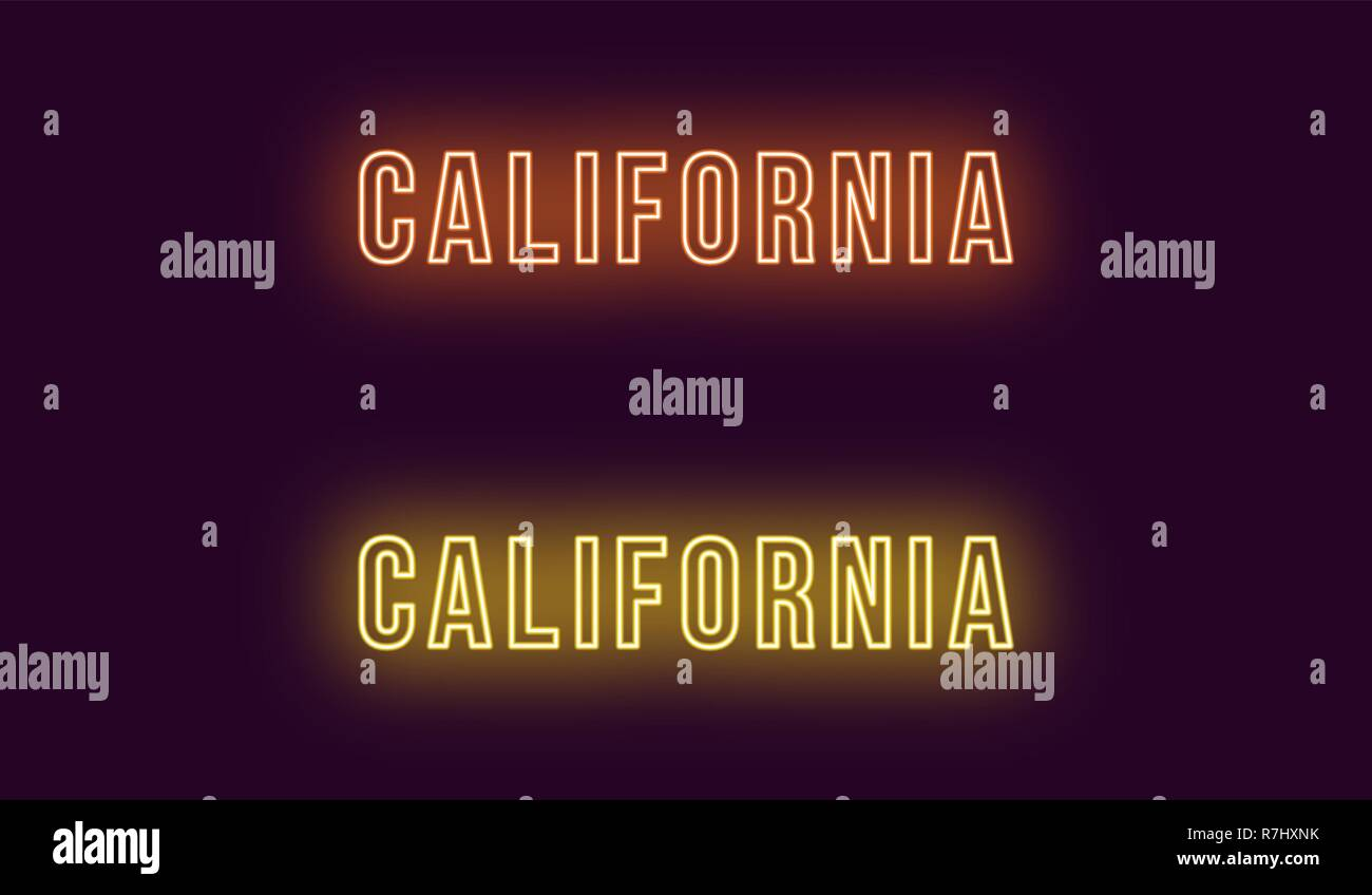 Neon name of California state in USA. Vector text of California, Neon inscription with backlight in Bold style, orange and yellow colors. Isolated glo Stock Vector