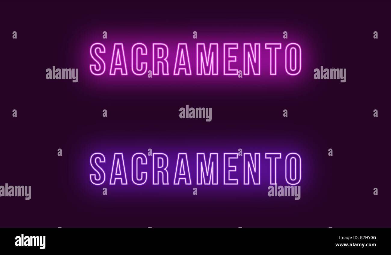 Neon name of Sacramento city in USA. Vector text of Sacramento, Neon inscription with backlight in Bold style, purple and violet colors. Isolated glow Stock Vector