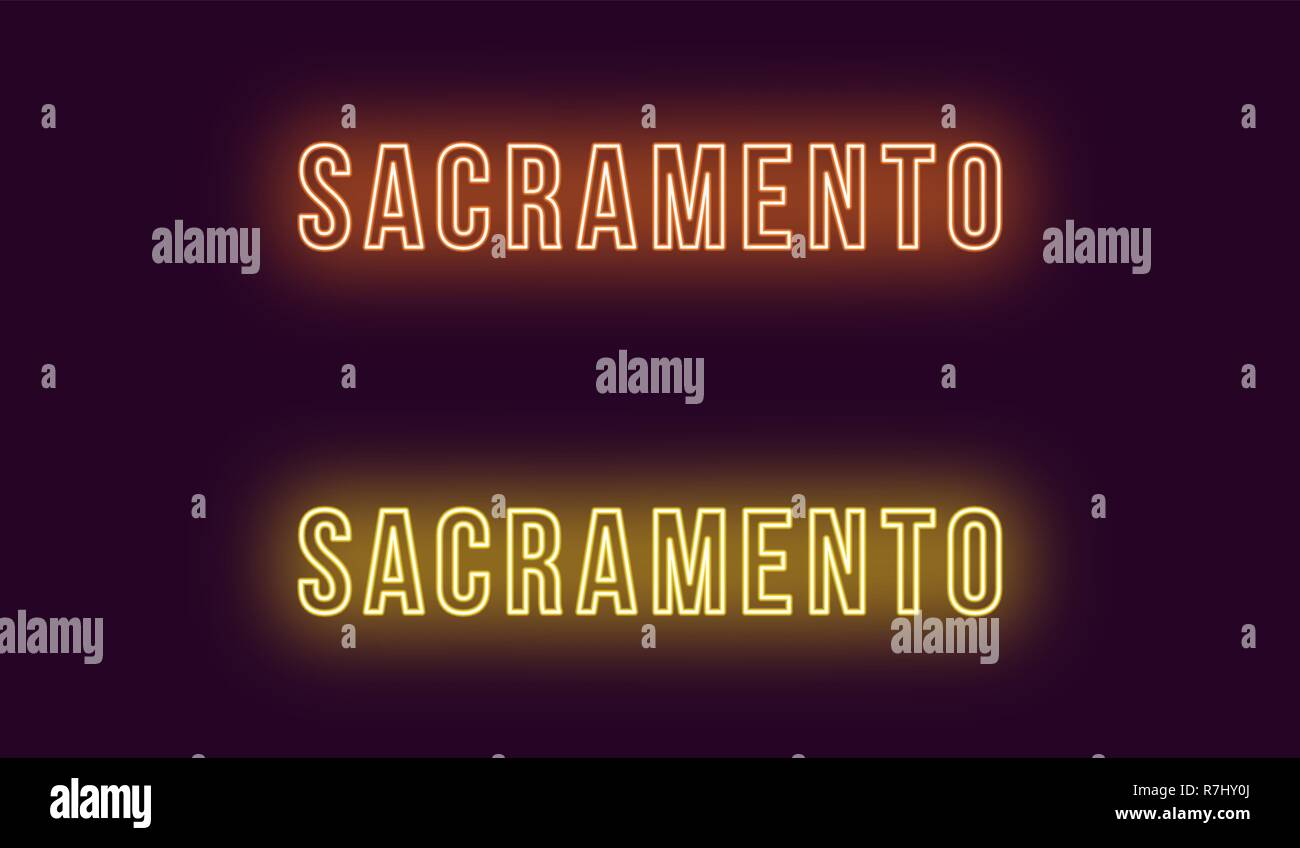 Neon name of Sacramento city in USA. Vector text of Sacramento, Neon inscription with backlight in Bold style, orange and yellow colors. Isolated glow Stock Vector