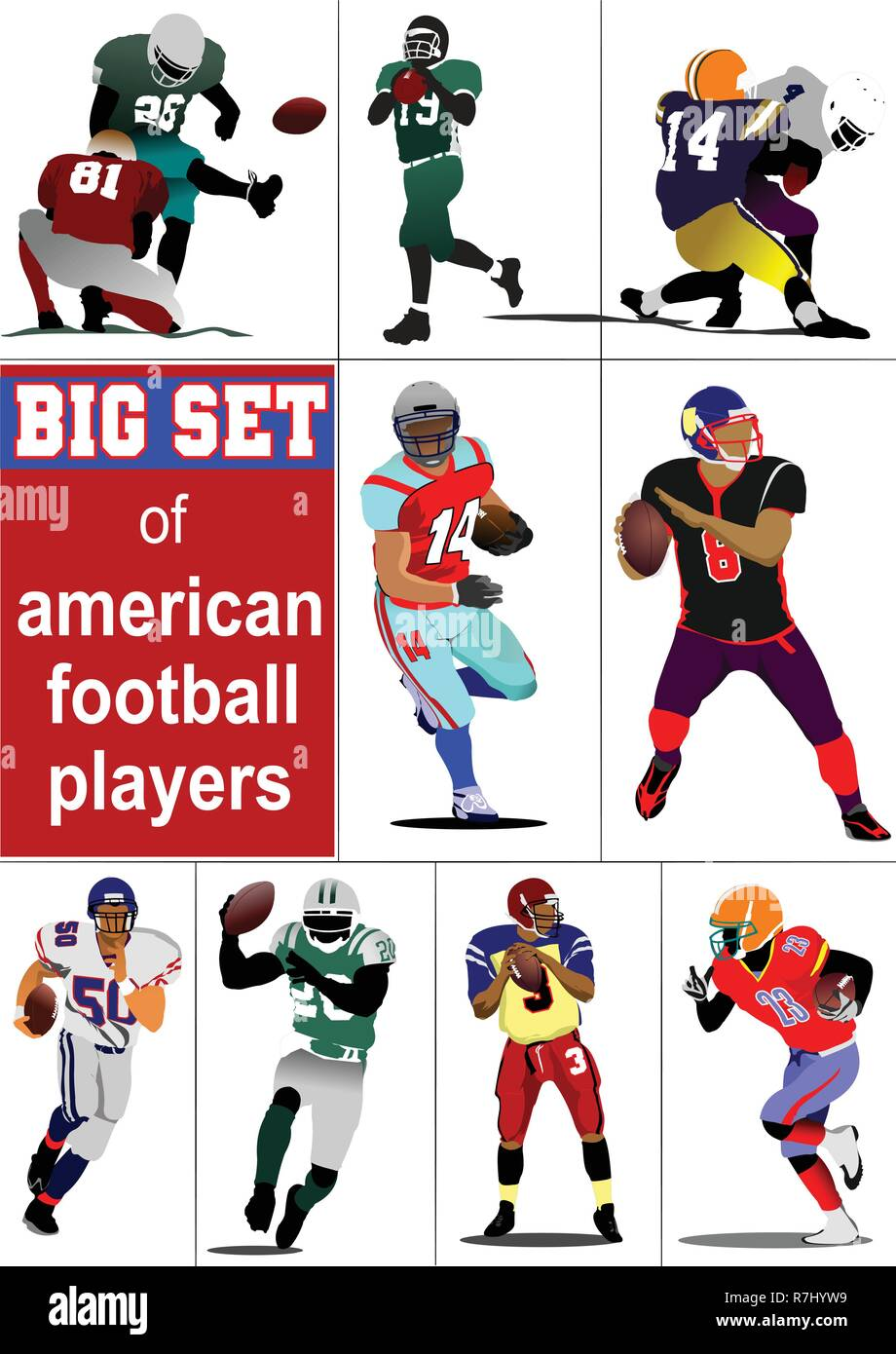 Big set of American football player s silhouettes in action. Vector illustration - Stock Vector