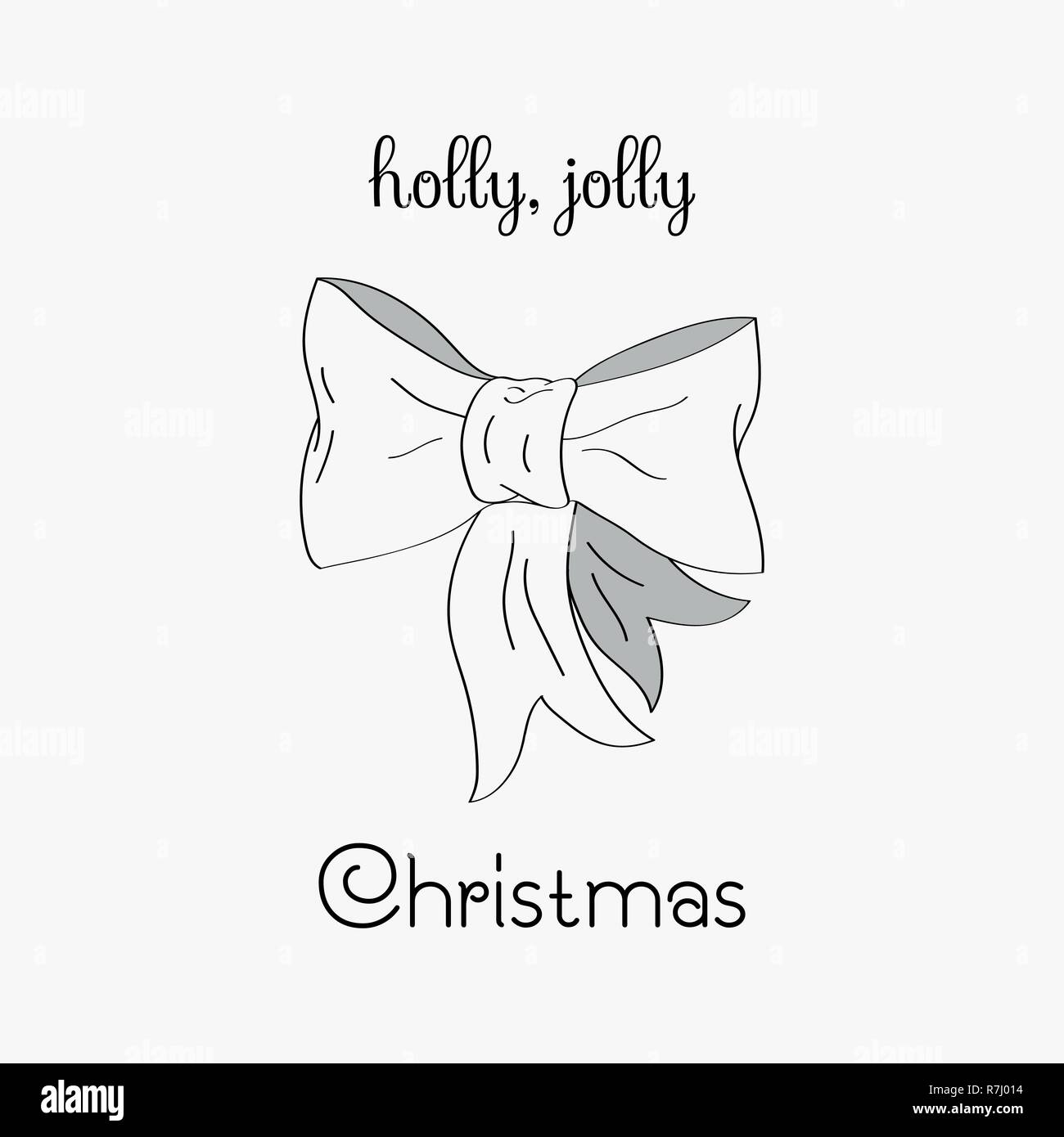 Hand drawn Christmas card. Merry Christmas and New Year typography. Cute holidays greeting card, invitation, poster and templates. Black and white Christmas card. Vector illustration. - Stock Image