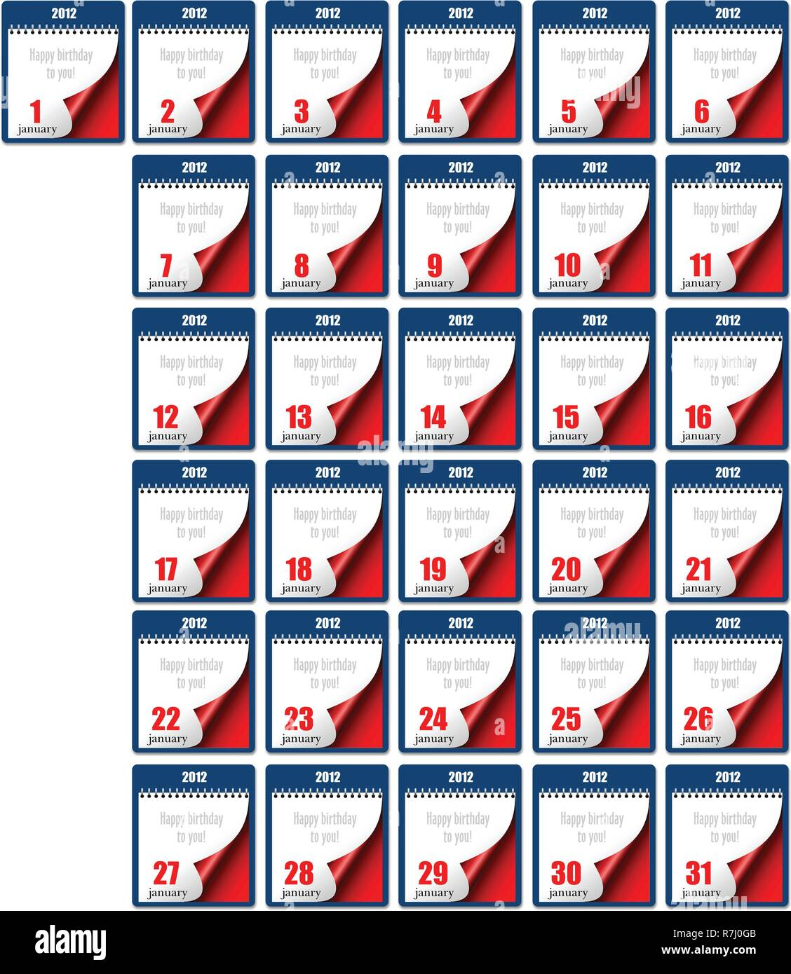 Tear-off Calendar 2012. Each day of January. Happy birthday to you! Vector illustration - Stock Image