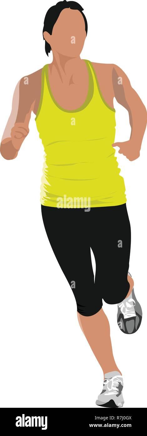 The running men. Jogging. Vector illustration - Stock Vector
