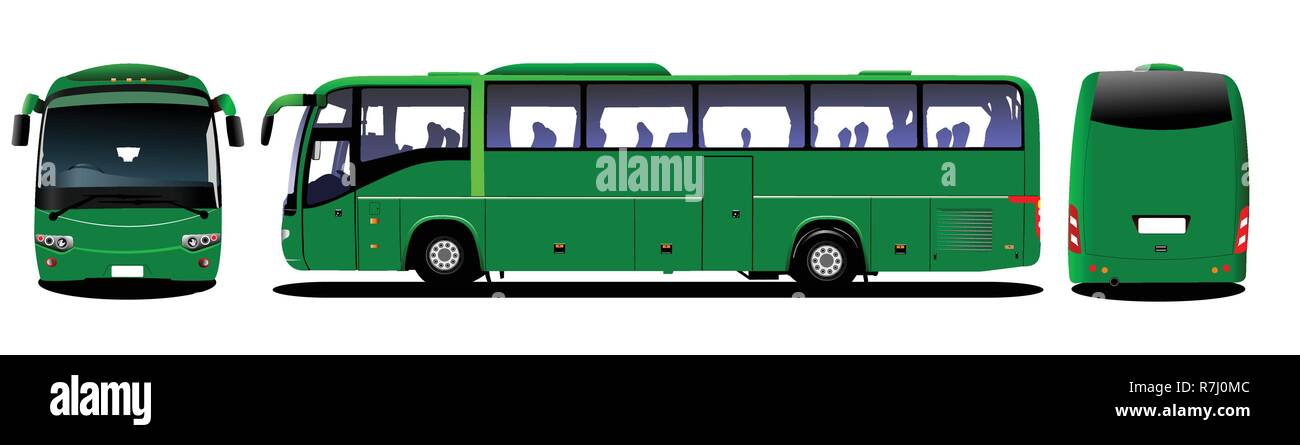 City bus. Tourist coach. Frontal, rear, side view. Vector illustration - Stock Vector