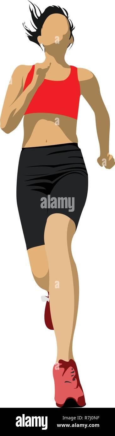 The running people.Jogging. Vector illustration - Stock Vector