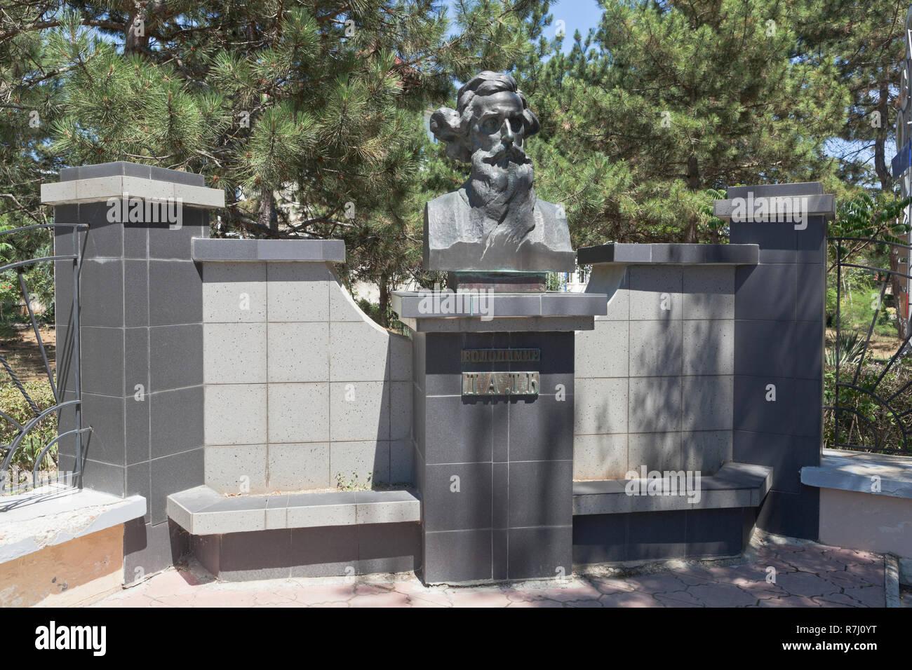 Evpatoria, Crimea, Russia - July 2, 2018: Monument to Vladimir Ivanovich Dal in the resort town of Evpatoria, Crimea - Stock Image
