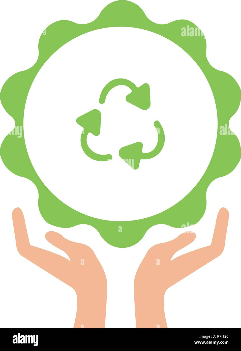 Open arms with recycling sign glyph color icon. Pollution prevention. Silhouette symbol. Waste recycling. Negative space. Raster isolated illustration - Stock Image
