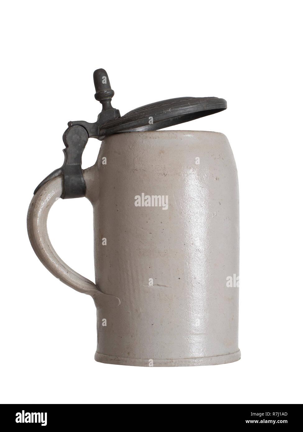 Beer mug, stein, isolated own white background. Plain, old design. - Stock Image