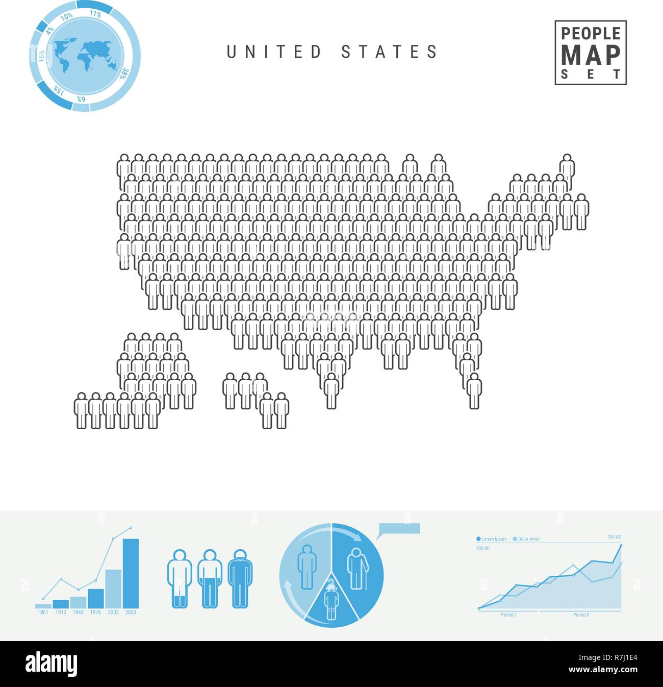 United States People Icon Map. Stylized Vector Silhouette of USA. Population Growth and Aging Infographic Elements Stock Vector