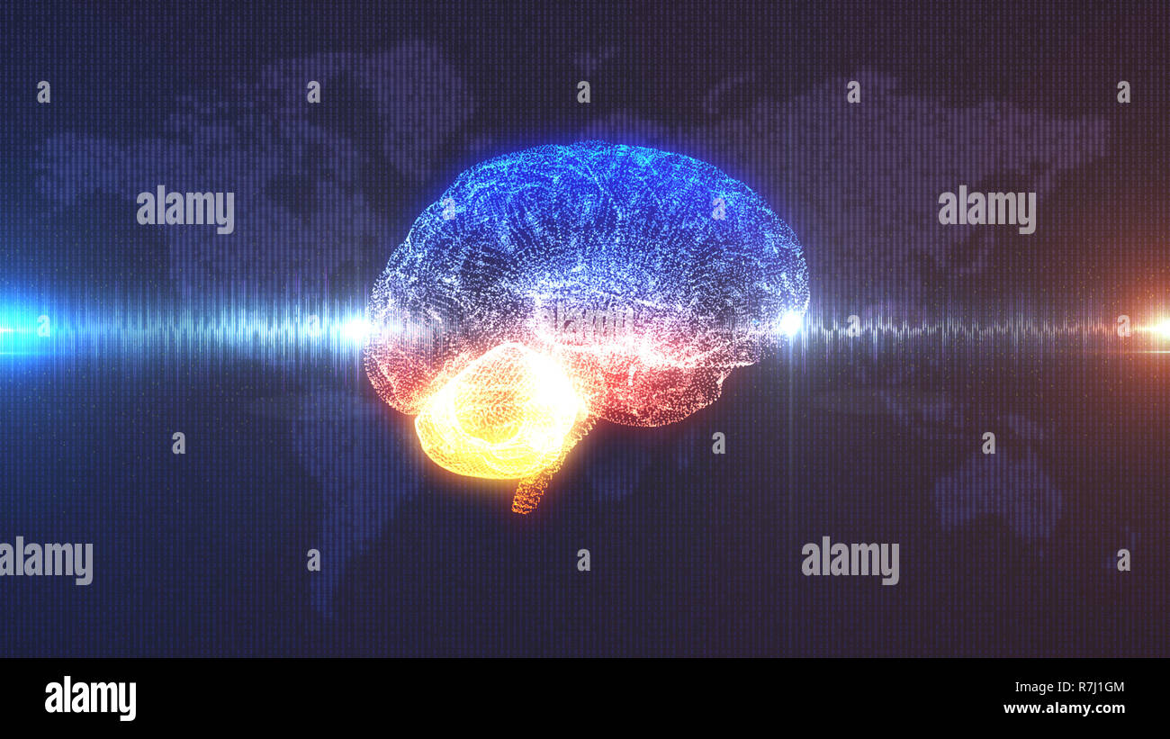 3D CGI illustration of Orange and Blue Digital Computer Brain with brainwave in front of faded Earth Map rendered in digits Stock Photo