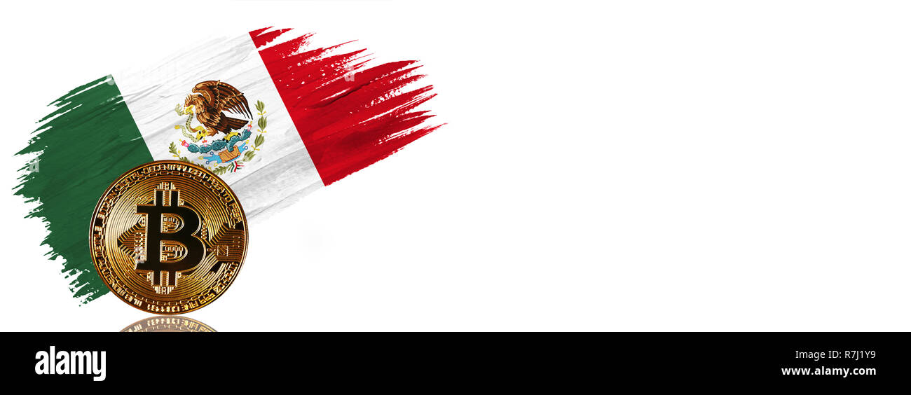 Painted brush stroke in the flag of Mexico. Bitcoin cryptocurrency banner with isolated on white background with place for your text. - Stock Image
