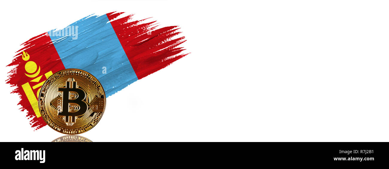 Painted brush stroke in the flag of Mongolia. Bitcoin cryptocurrency banner with isolated on white background with place for your text. - Stock Image