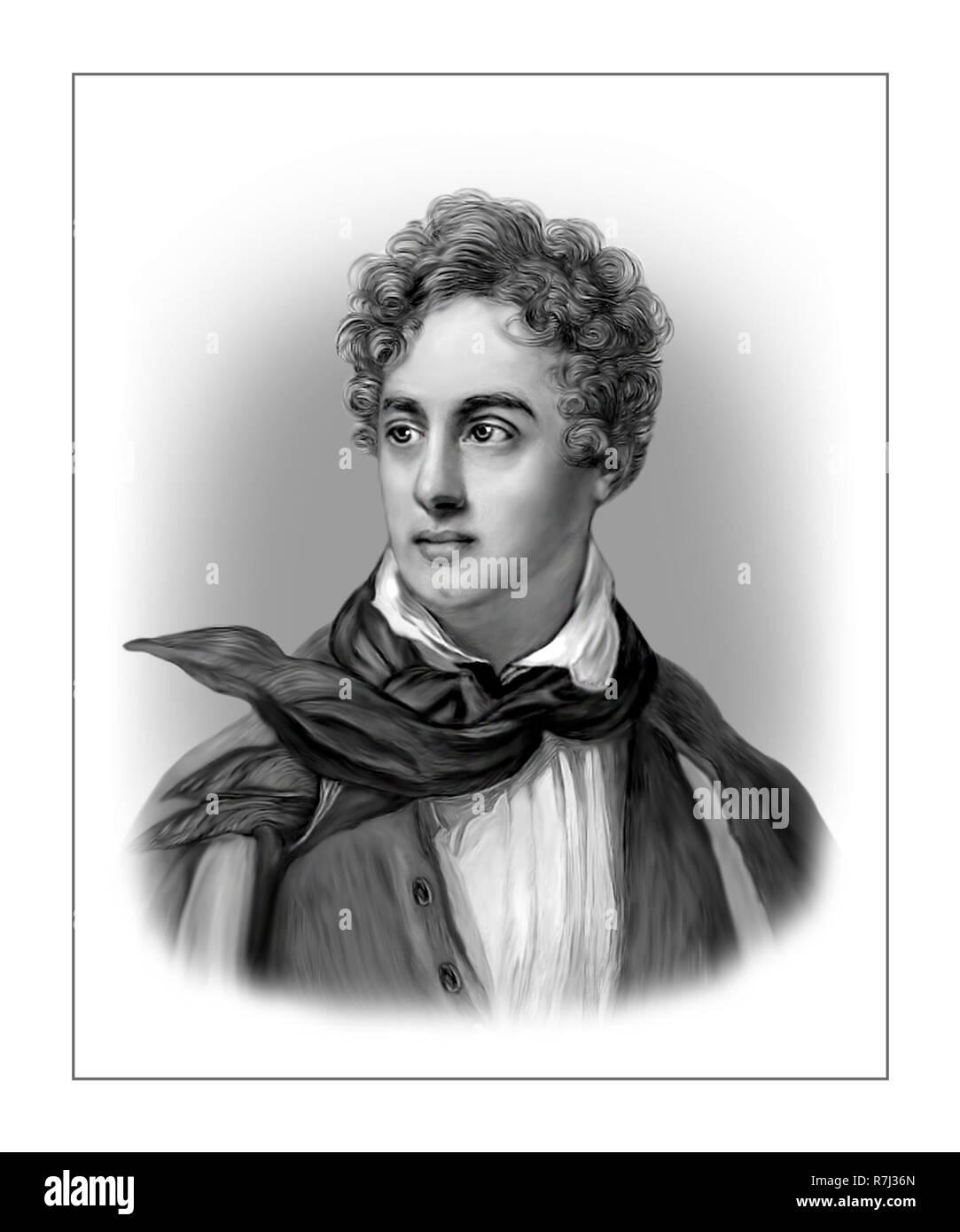 Lord Byron  1788 - 1824  English Poet - Stock Image