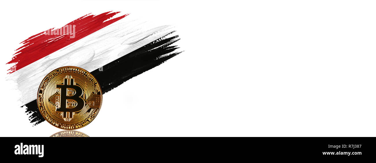 Painted brush stroke in the flag of Yemen. Bitcoin cryptocurrency banner with isolated on white background with place for your text. - Stock Image