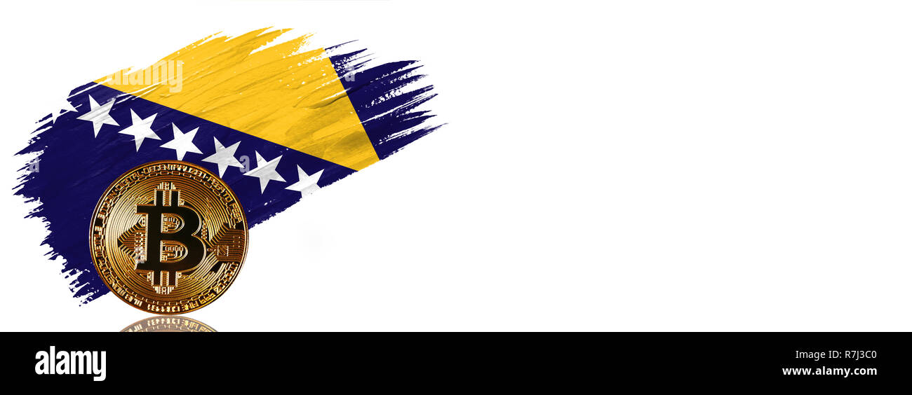 Painted brush stroke in the flag of Bosnia and Herzegovina. Bitcoin cryptocurrency banner with isolated on white background with place for your text. - Stock Image