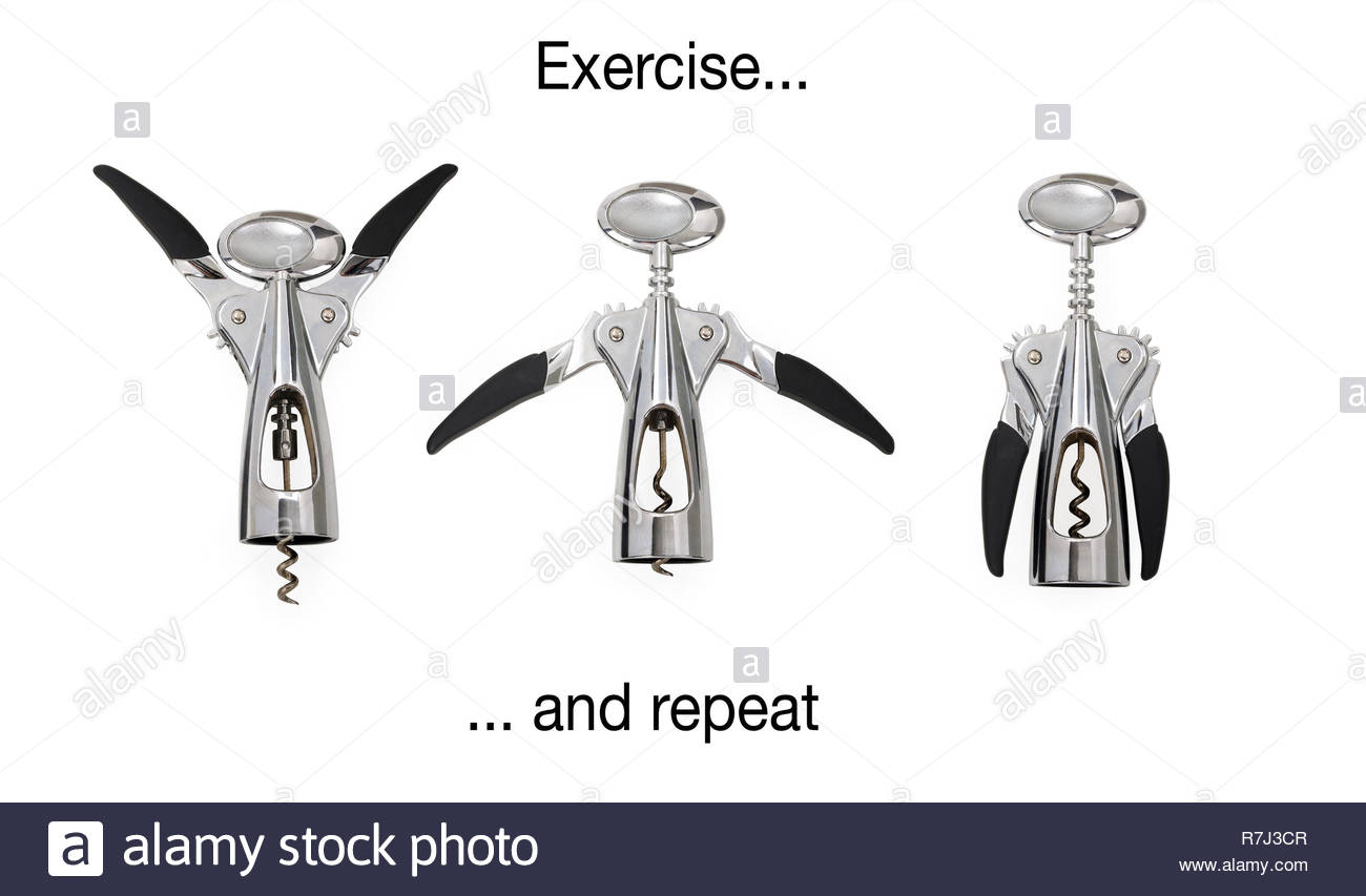 Three modern corkscrews isolated on white with clipping path, in different positions as if they seem to be doing some workout. - Stock Image