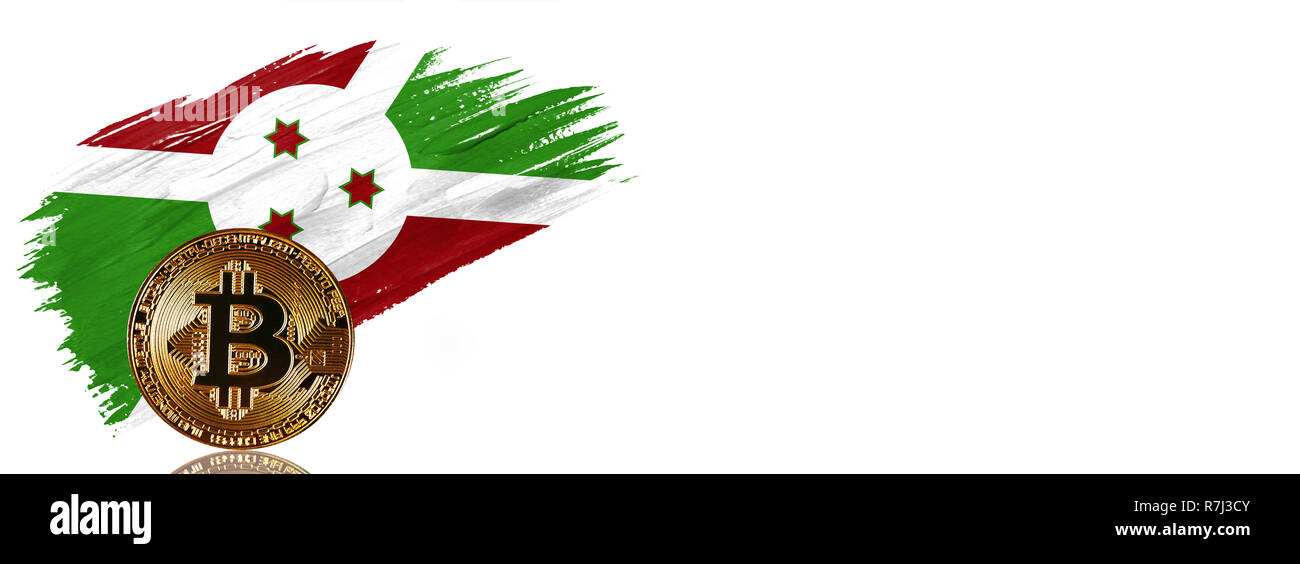 Painted brush stroke in the flag of Burundi. Bitcoin cryptocurrency banner with isolated on white background with place for your text. Stock Photo