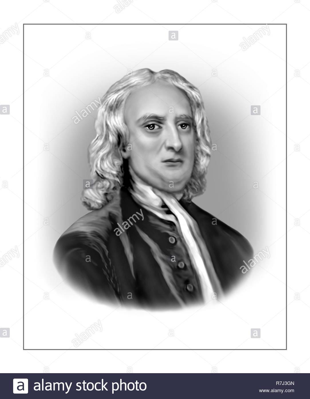 Isaac Newton  1642 - 1727  English Scientist Mathematician - Stock Image