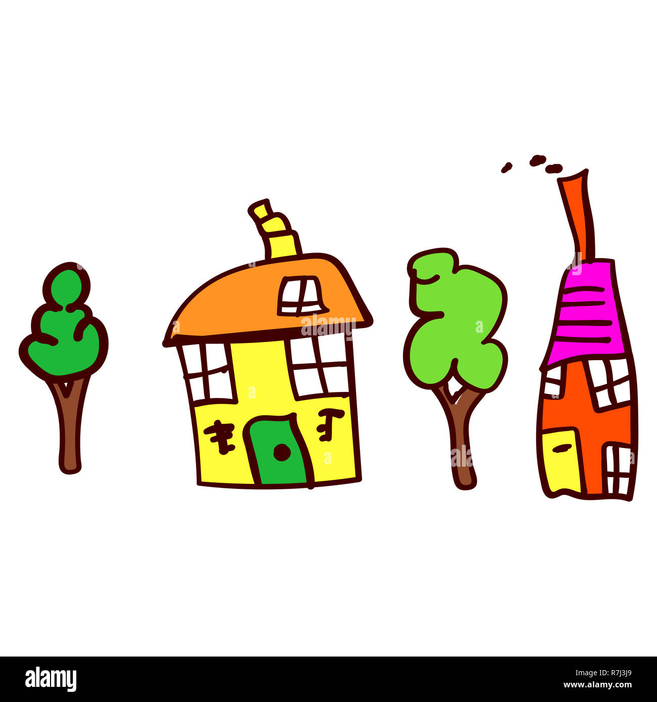 Childrens drawing with two houses and two trees.  illustration. Isolated white background. - Stock Image