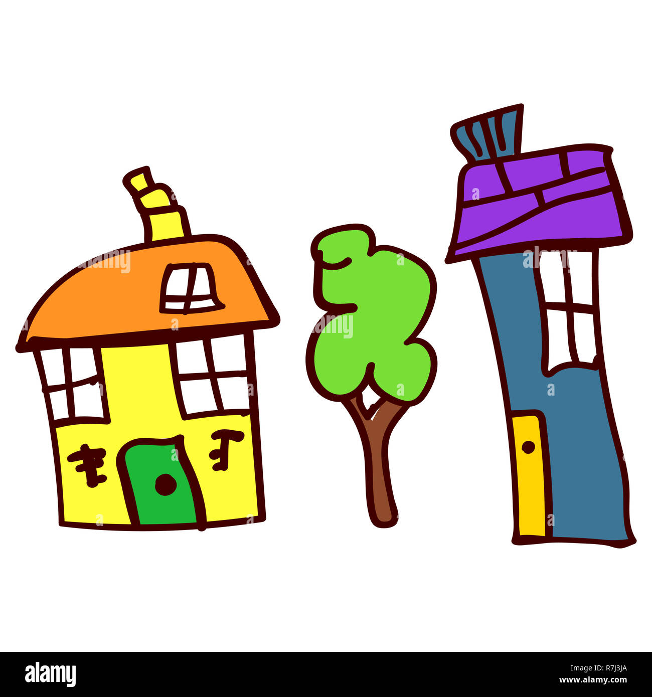 Childrens drawing with two houses and tree.  illustration. Isolated white background. - Stock Image