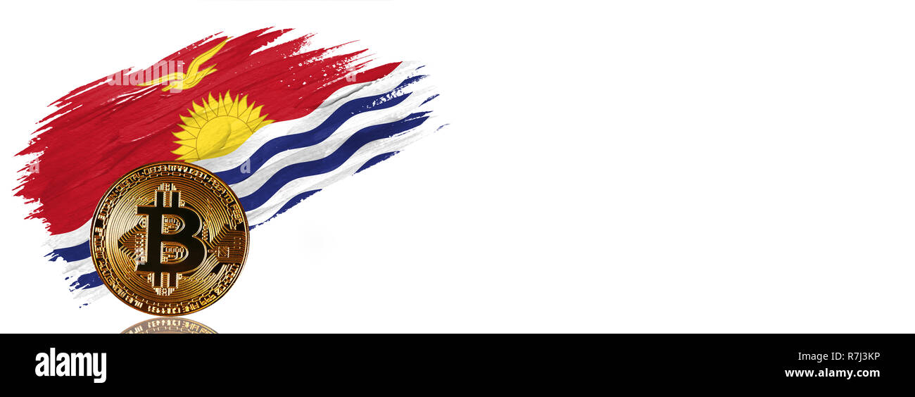 Painted brush stroke in the flag of Kiribati. Bitcoin cryptocurrency banner with isolated on white background with place for your text. - Stock Image