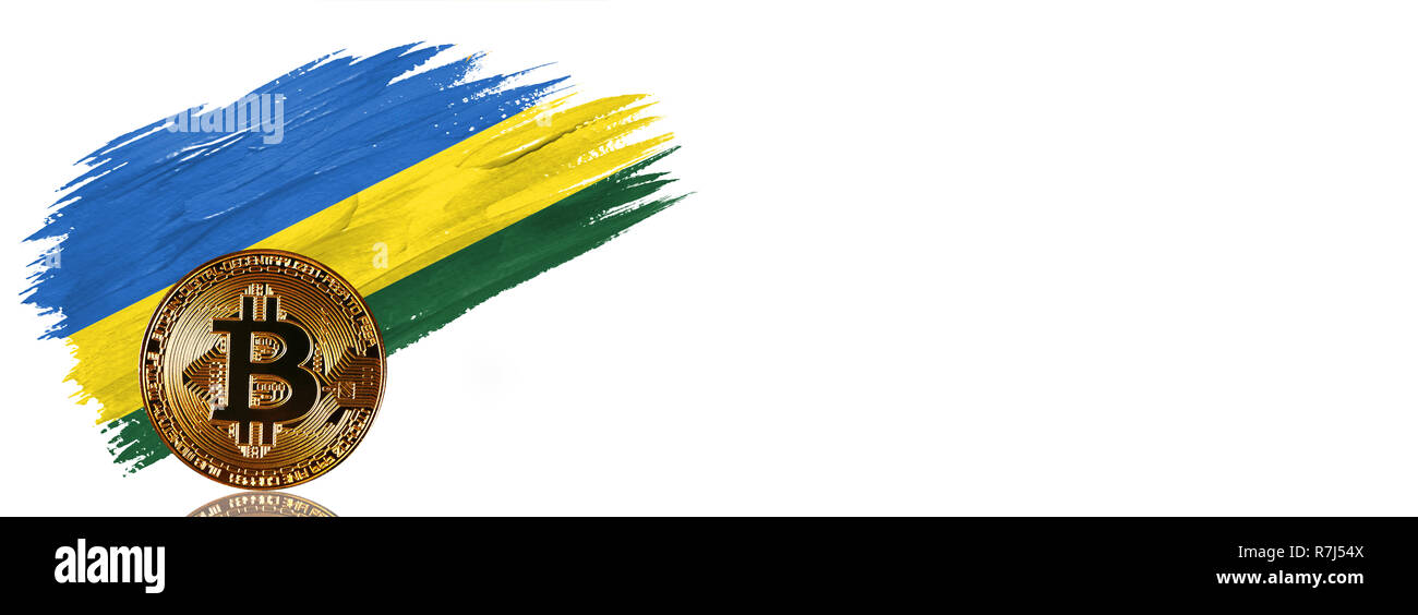 Painted brush stroke in the flag of Rwanda. Bitcoin cryptocurrency banner with isolated on white background with place for your text. - Stock Image