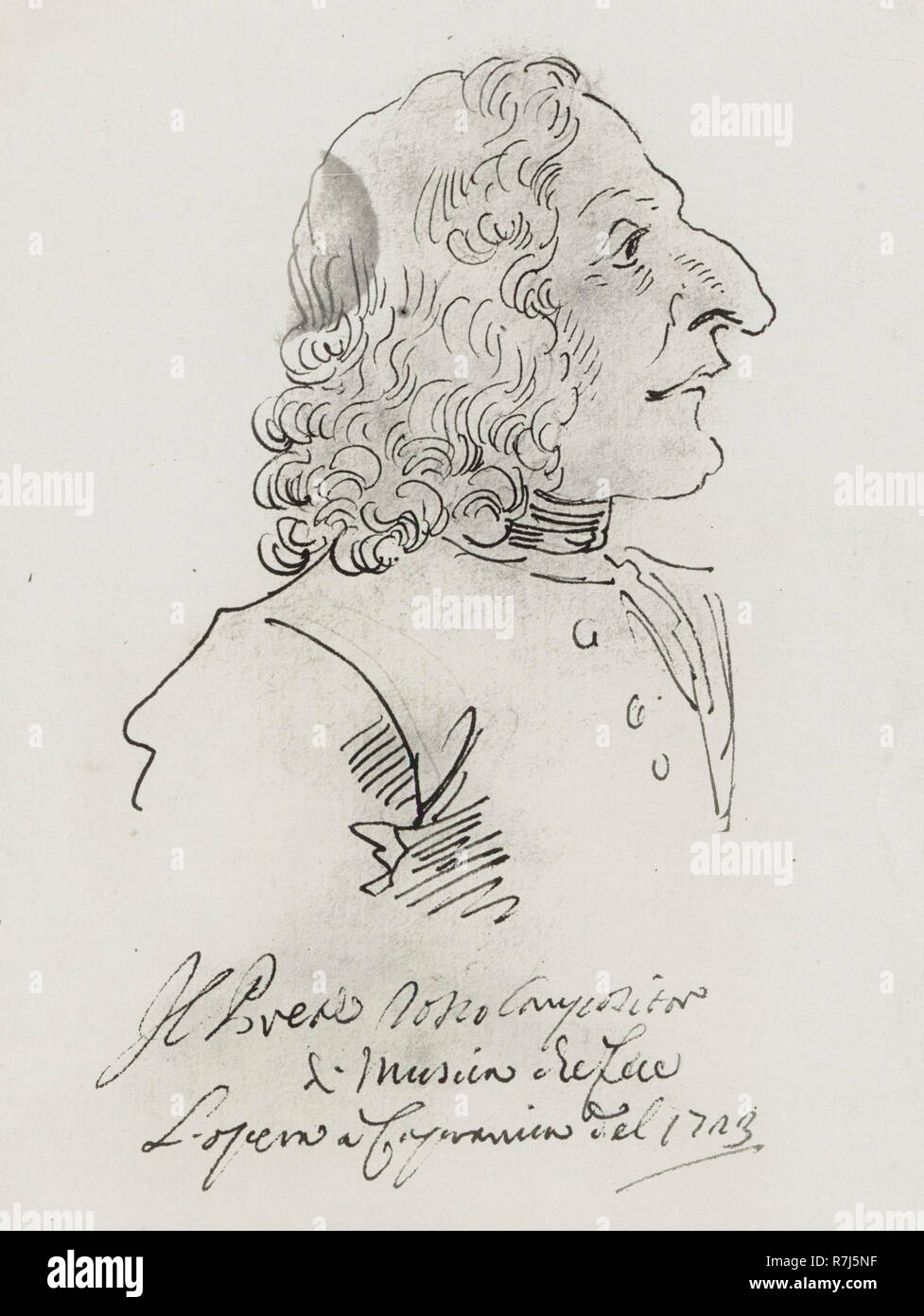 Caricature of Antonio Vivaldi by Pier Leone Ghezzi in 1723. Text translates to 'The Red Priest, composer of music who made the opera at the Capranica of 1723.' - Stock Image