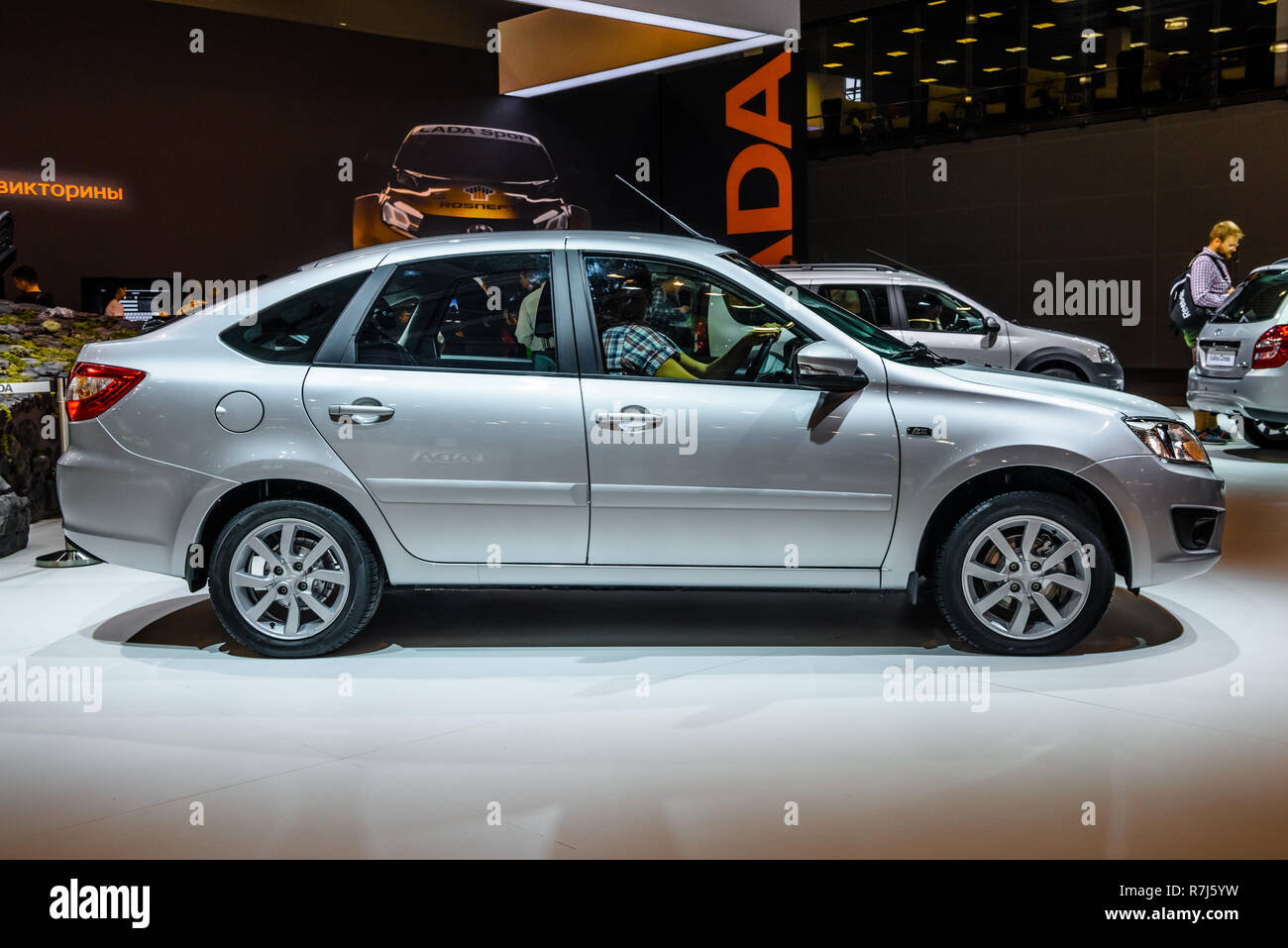 MOSCOW - AUG 2016: VAZ 2191 LADA Granta presented at MIAS Moscow  International Automobile Salon