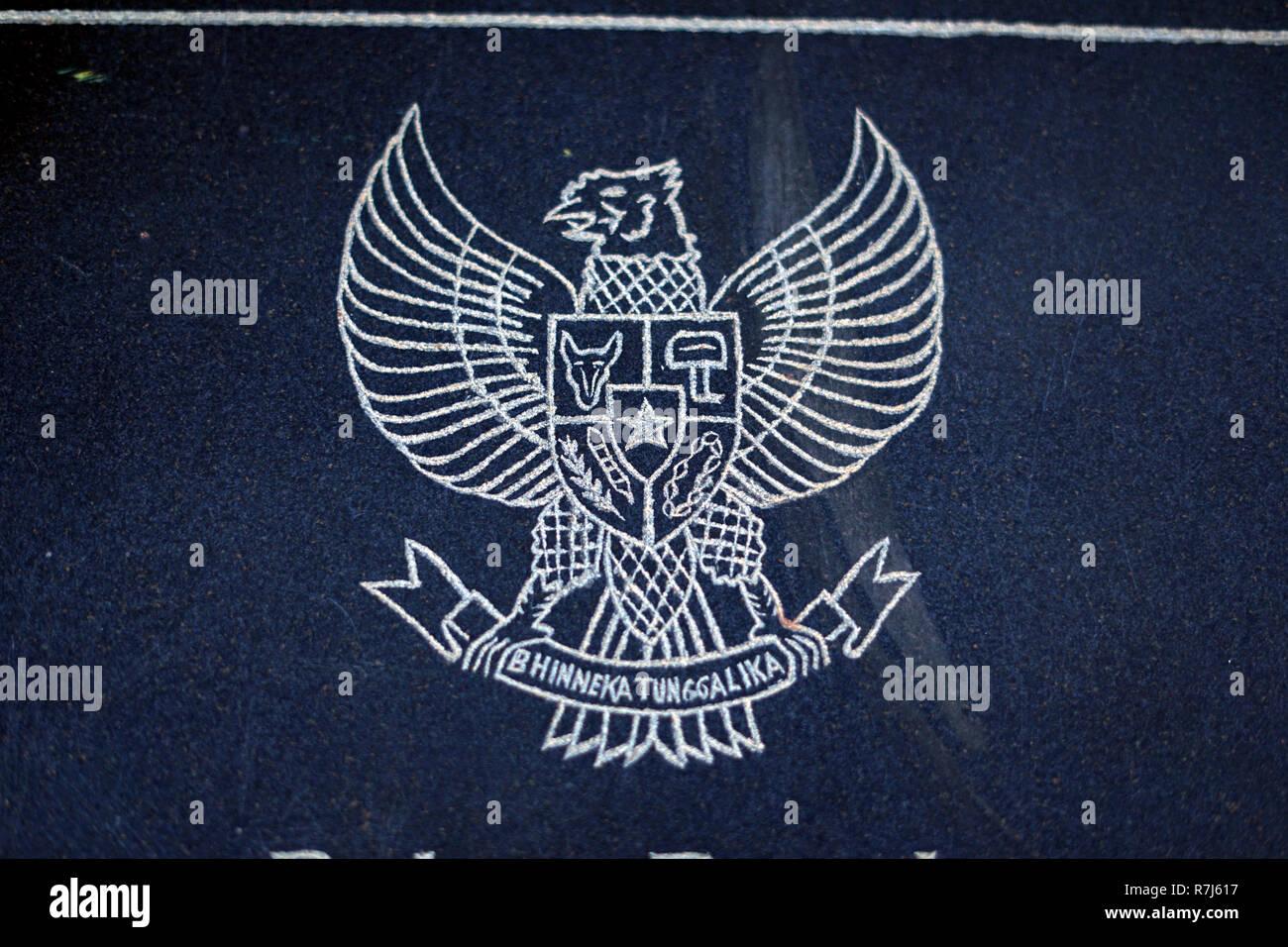 Garuda Pancasila, Indonesia Coat of Arms - Stock Image