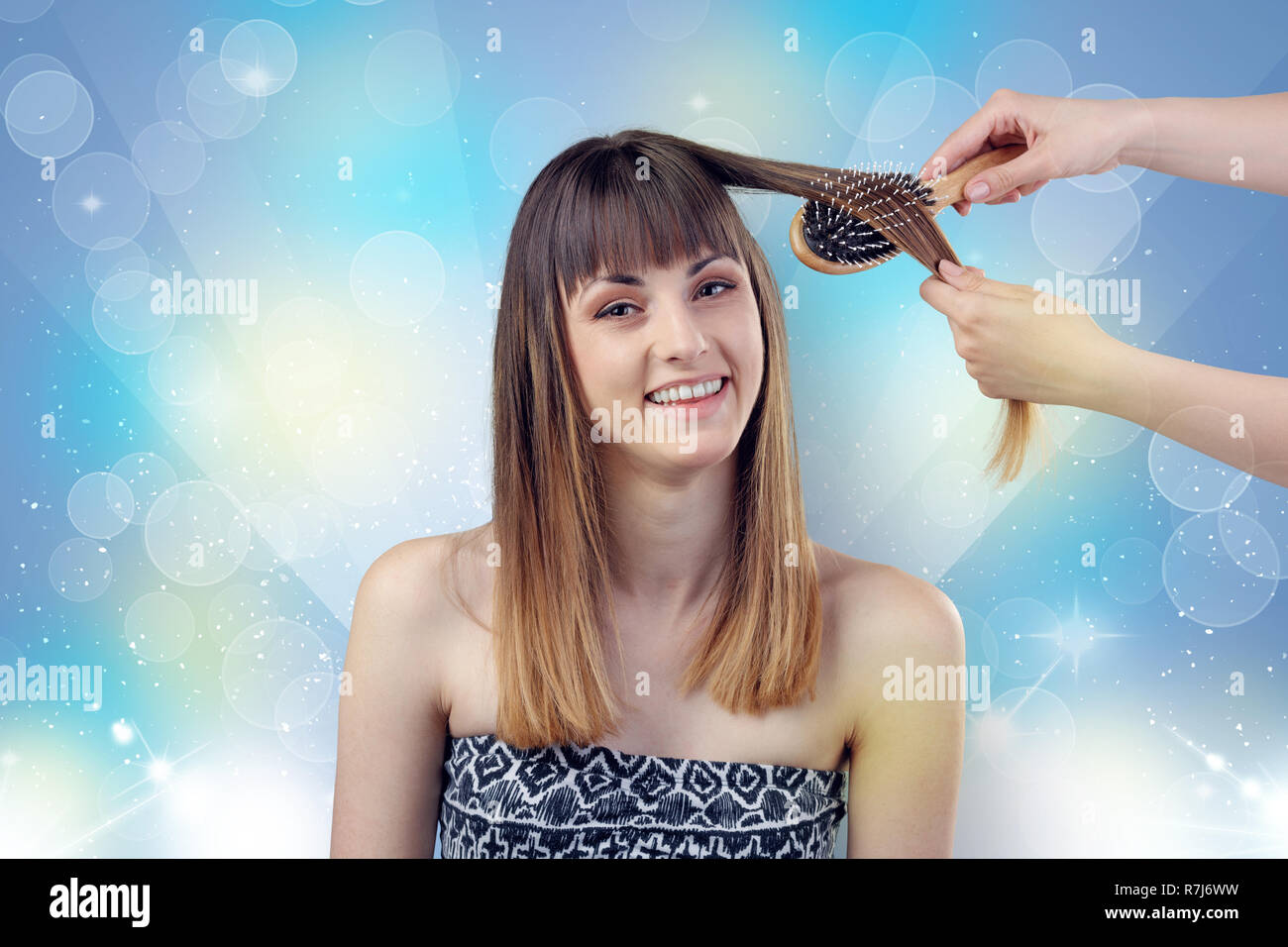 bed691cd1 Skinny young girl portrait in beauty salon with colourful shiny concept -  Stock Image