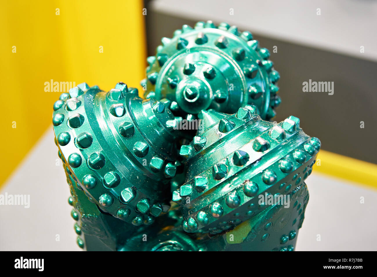 Green drilling head for oil production at the exhibition - Stock Image