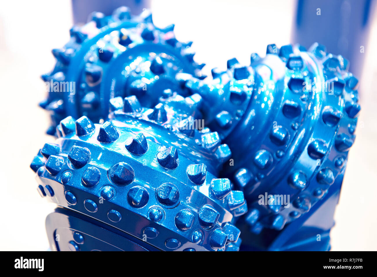 Blue drilling head for oil production at the exhibition - Stock Image