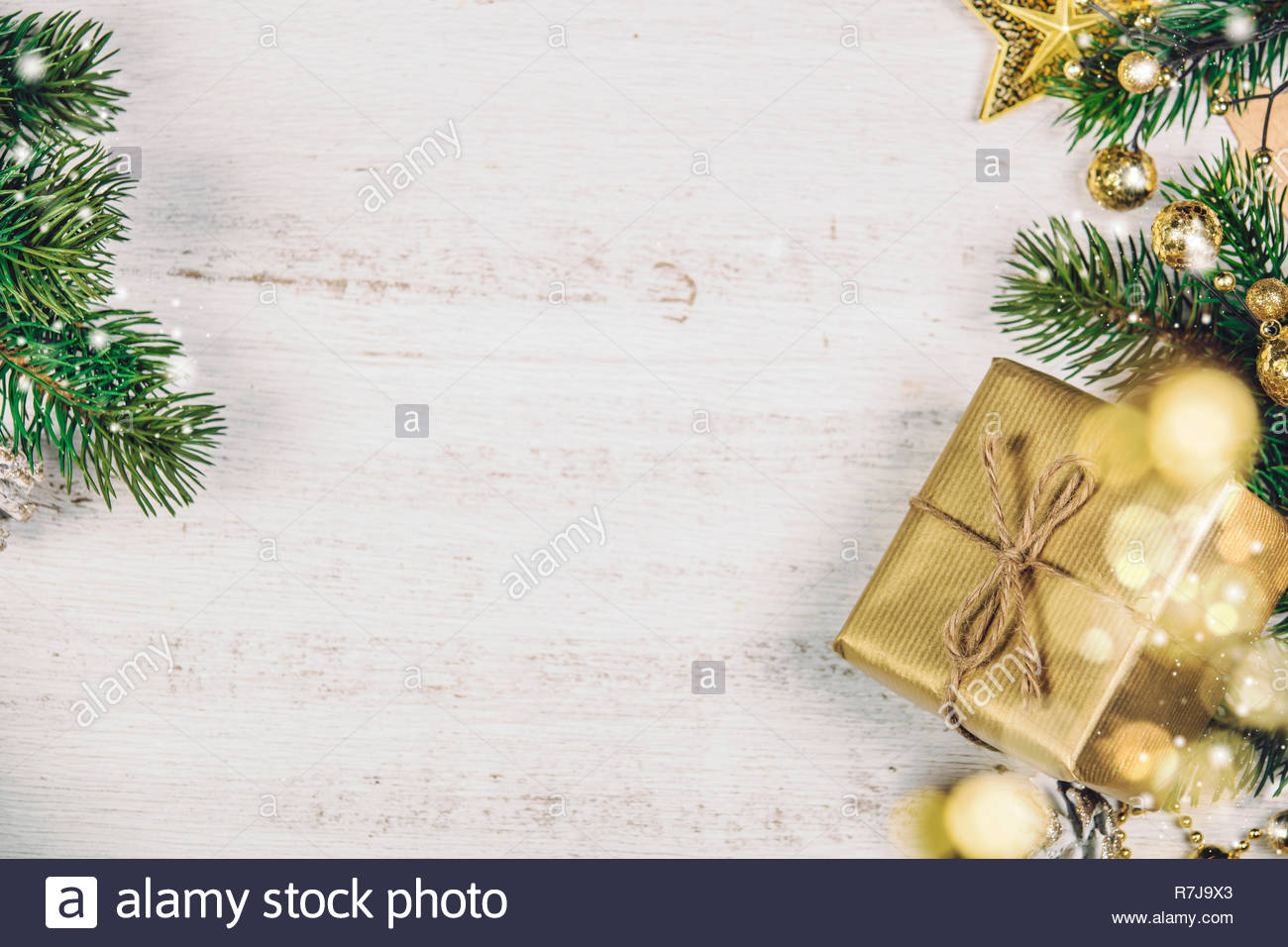 Christmas Wood Background.Christmas Theme Background In Vintage Tone Rustic Wood