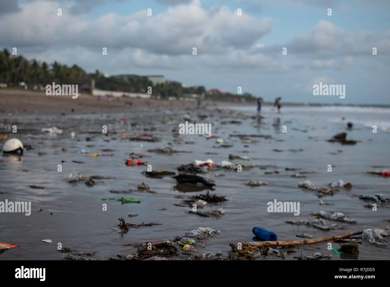 Trash on the Beach, a lot of plastic garbide on the beach of Indian ocean - Stock Image