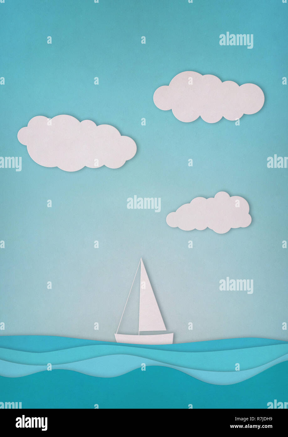 Paper boat, sky and sea on blue background Stock Photo
