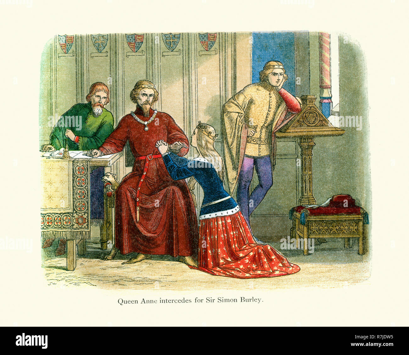 Queen Anne intercedes for Sir Simon Burley to Gloucester and Arundel who remained deaf to every entreaty. King Richard II therefore unwillingly had Si - Stock Image