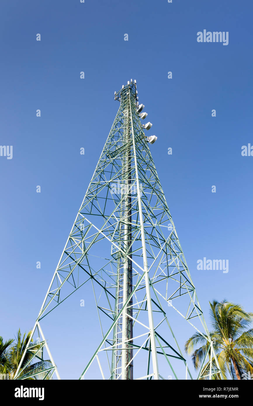 Telecommunications mast, Thailand - Stock Image