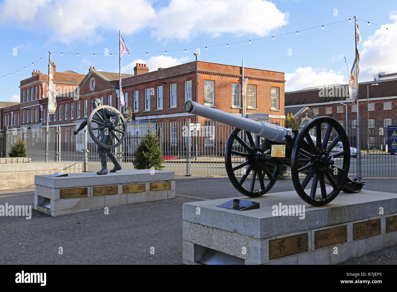 Statues commemorating the 'Command' Field Gun competition, Historic Dockyard, Portsmouth, Hampshire, England, Great Britain, United Kingdom UK, Europe - Stock Image