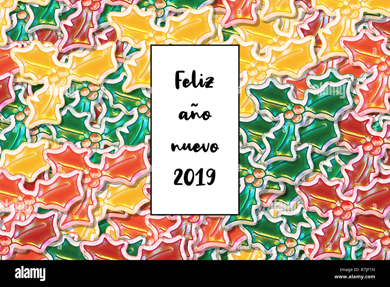 Feliz año nuevo 2019 card (Happy New Year in spanish) with colored holly leaves as a background - Stock Image