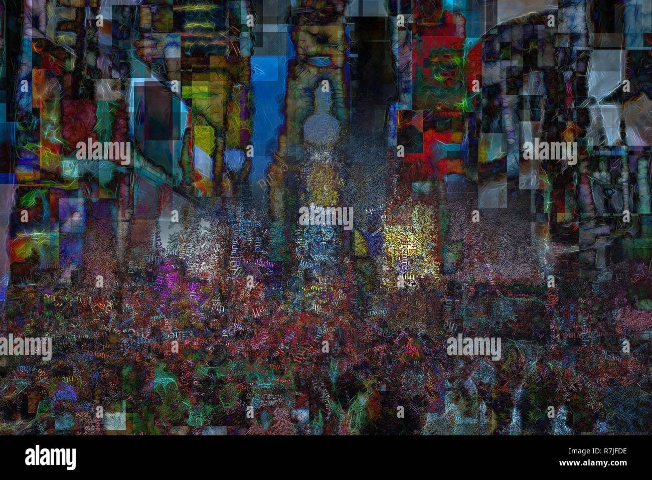 Times Square, surreal painting. Image composed of words. 3D rendering - Stock Image
