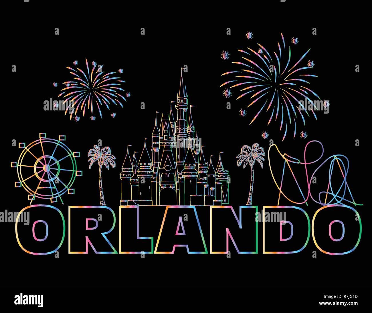 Orlando colorful lettering on black backround .  Vector with travel icons and fireworks. Art Postcard. - Stock Vector
